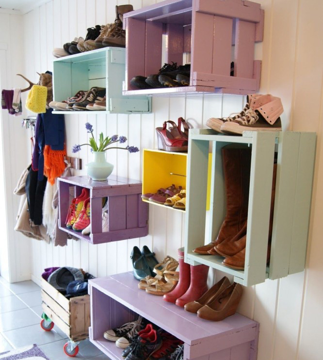 Storage of shoes in wooden boxes