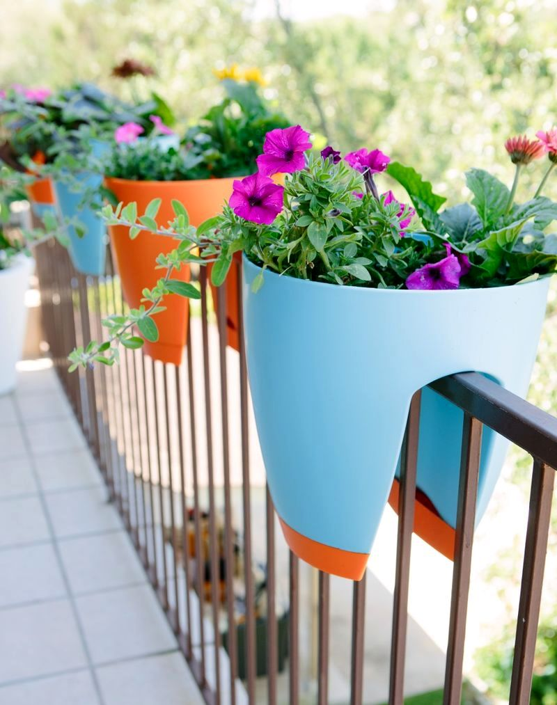 bright pots on the railing