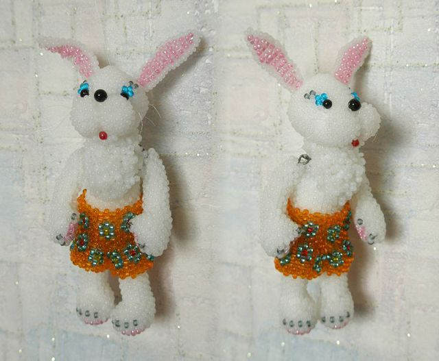 Bunnies woven from beads