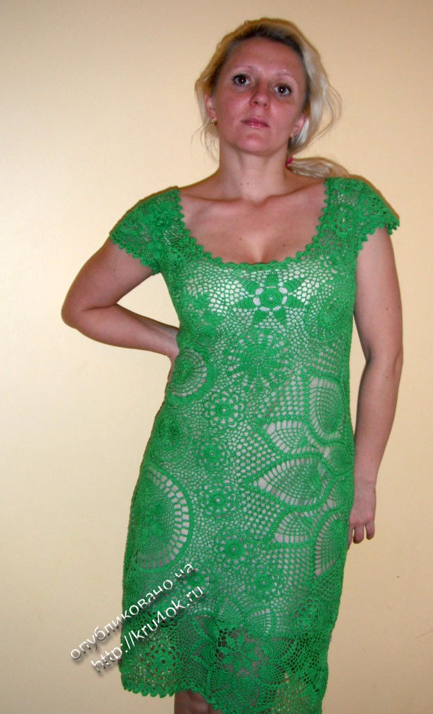 Green Dress In Irish Lace Technique