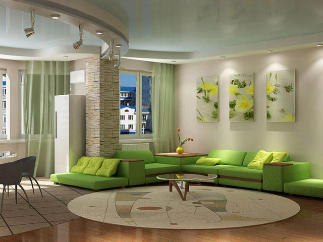 Green furniture in the interior on the photo