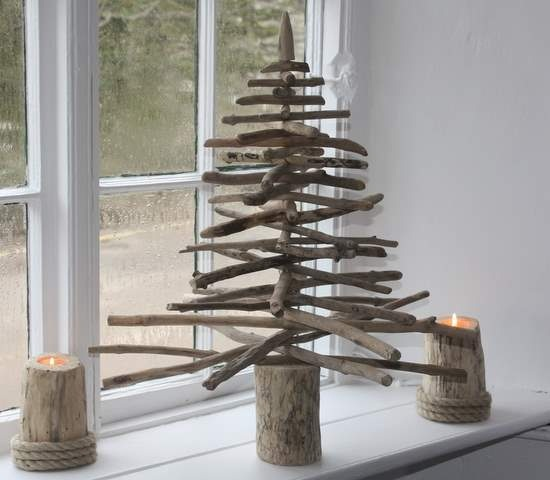 Winter handmade articles for school for children from tree branches