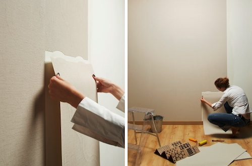 Process of pasting walls with self-adhesive wallpaper