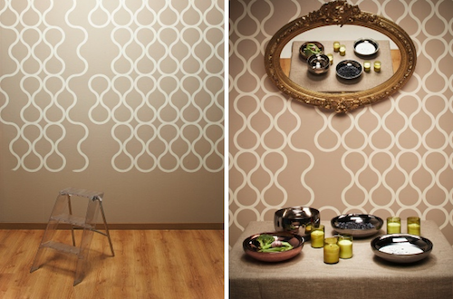 Self-adhesive perforated wallpaper in the interior
