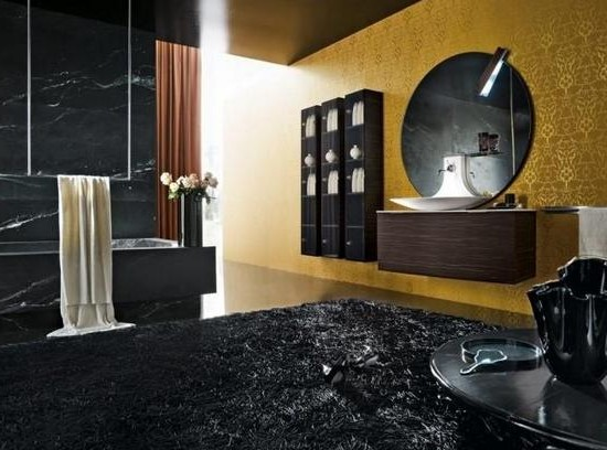 The combination of gold and black in the interior