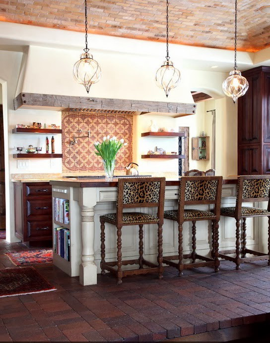 Furniture in the kitchen with a leopard print