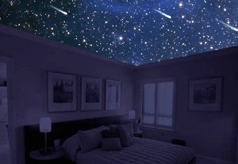 Stretched ceiling Starry sky in the bedroom